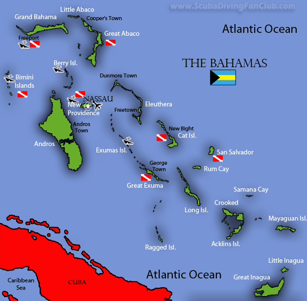 diving the Bahamas map