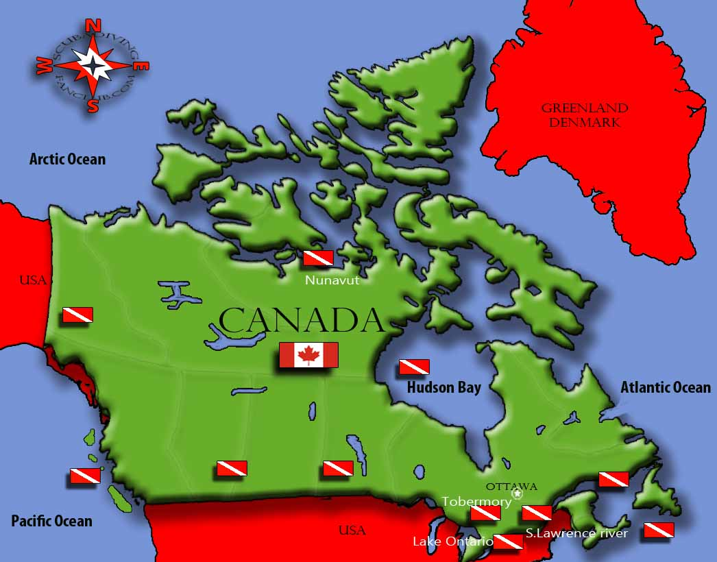 Diving Canada map