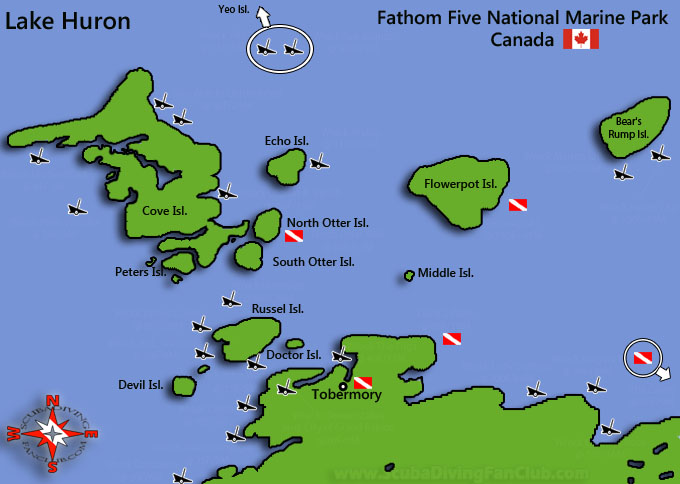Tobermory Diving map and wrecks