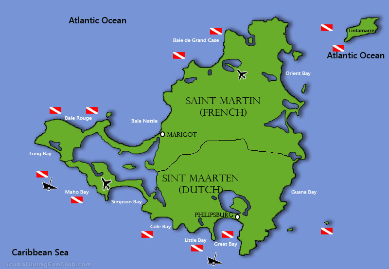 Map of diving in St Martin