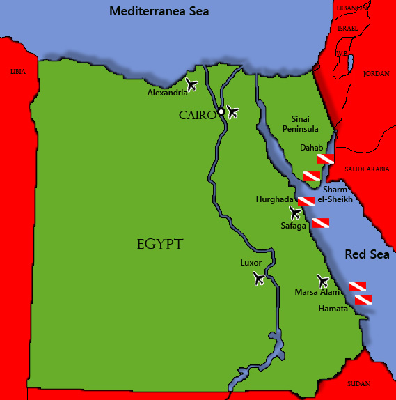 Diving map of Egypt