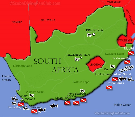 Diving map of South Africa