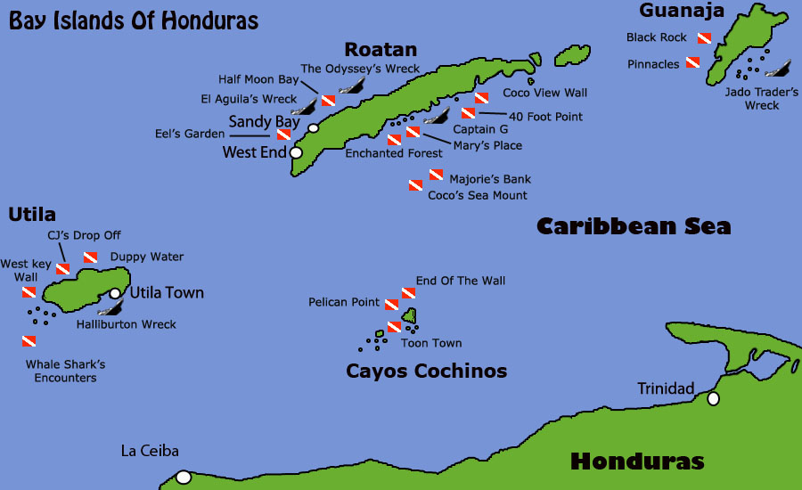Diving Map of Honduras Bay Islands. Roatan, Utila, Guanaja and cayos Cochinos.