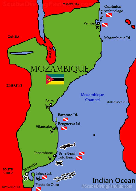 Map of Diving in Mozambique